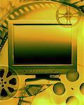 Abstract of Computer Screen and Film Reels