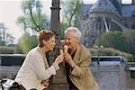 Couple Eating Ice Creams Paris, France    Stock Photo - Premium Rights-Managed, Artist: Michael Goldman, Code: 700-00163442