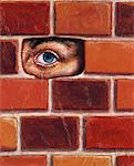 Illustration of Eye Peeking Through Hole in Brick Wall    Stock Photo - Premium Rights-Managed, Artist: James Wardell, Code: 700-00163691
