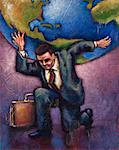 Illustration of Businessman Holding World on Shoulders    Stock Photo - Premium Rights-Managed, Artist: James Wardell, Code: 700-00163692