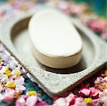 Soap in Dish with Blossoms    Stock Photo - Premium Rights-Managed, Artist: Marnie Burkhart, Code: 700-00167996