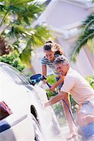 Father and Daughter Washing Car    Stock Photo - Premium Rights-Managednull, Code: 700-00168084