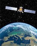 Satellite over Europe    Stock Photo - Premium Rights-Managed, Artist: Rick Fischer, Code: 700-00168272