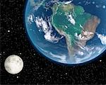 Moon over South America    Stock Photo - Premium Rights-Managed, Artist: Rick Fischer, Code: 700-00168275