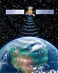 Satellite Transmission over North America    Stock Photo - Premium Rights-Managed, Artist: Rick Fischer, Code: 700-00168281