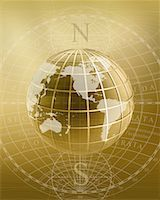 Globe with Grid Displaying North America, South America, Asia and Australia    Stock Photo - Premium Rights-Managednull, Code: 700-00177865