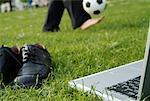 Shoes, Laptop Computer and Businessman Playing Soccer    Stock Photo - Premium Rights-Managed, Artist: Dave Robertson, Code: 700-00178011