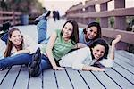 Group of Teenage Girls on Walkway    Stock Photo - Premium Rights-Managed, Artist: Kevin Dodge, Code: 700-00178339