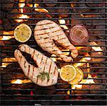 Salmon Steak on Barbeque    Stock Photo - Premium Rights-Managed, Artist: Michael Mahovlich, Code: 700-00182576
