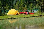 Campsite by Water Banff, Alberta Canada