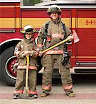 Father and Son Firefighters    Stock Photo - Premium Rights-Managed, Artist: Dan Lim, Code: 700-00190277