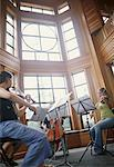 Three Musicians Practicing    Stock Photo - Premium Rights-Managed, Artist: Mitch Tobias, Code: 700-00190870