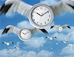 Clocks with Wings    Stock Photo - Premium Rights-Managed, Artist: Keith Neale, Code: 700-00194559