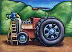 Farmer Repairing Tractor    Stock Photo - Premium Rights-Managed, Artist: James Wardell, Code: 700-00195480