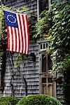 Building with Betsy Ross Flag Nantucket, Massachusetts USA    Stock Photo - Premium Rights-Managed, Artist: Gail Mooney, Code: 700-00196015