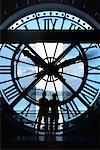 People looking Through the Tower Clock at Musee d'Orsay Paris, France