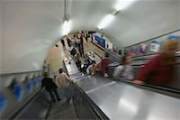People Ascending and Descending Subway Escalators London, England    Stock Photo - Premium Rights-Managednull, Code: 700-00197868