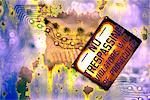 Rusted no trespassing sign with circuit board Stock Photo - Premium Royalty-Free, Artist: Ikon Images, Code: 604-00225166