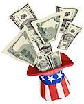 Money coming out of patriotic hat Stock Photo - Premium Royalty-Free, Artist: Ikon Images, Code: 604-00233911