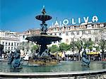 Portugal, Lisbon, Fountain on Rossio Square