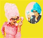 Woman Yelling to her Sister on Telephone    Stock Photo - Premium Rights-Managed, Artist: Elizabeth Knox, Code: 700-00263033