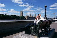 Businessman on Bench London, England    Stock Photo - Premium Rights-Managednull, Code: 700-00263162