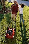 Couple with Lawnmower