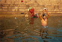 Bathing in Ganges River Varanasi, India    Stock Photo - Premium Rights-Managednull, Code: 700-00328485