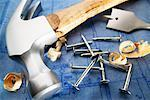 Construction Tools and Blueprint    Stock Photo - Premium Rights-Managed, Artist: Boden/Ledingham, Code: 700-00329110