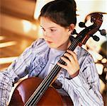 Girl Playing Cello    Stock Photo - Premium Rights-Managed, Artist: Marnie Burkhart, Code: 700-00350031