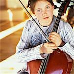 Girl with Cello    Stock Photo - Premium Rights-Managed, Artist: Marnie Burkhart, Code: 700-00350033