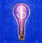 Dollar Sign in a Lightbulb    Stock Photo - Premium Rights-Managed, Artist: Michael Mahovlich, Code: 700-00357702