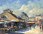 Illustration of The Naschmarkt, Vienna, Austria    Stock Photo - Premium Rights-Managed, Artist: Andrew Judd, Code: 700-00357719