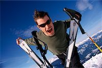 Man at Top of Ski Hill    Stock Photo - Premium Rights-Managednull, Code: 700-00361410
