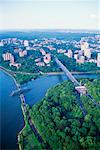 Aerial view of bridges crossing Harlem River, New York Stock Photo - Premium Royalty-Free, Artist: Aurora Photos            , Code: 604-00365015