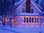 Christmas Lights on House, Kimberley, British Columbia, Canada
