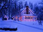 Christmas Lights on House, Kimberley, British Columbia, Canada    Stock Photo - Premium Rights-Managed, Artist: Ron Stroud, Code: 700-00366356