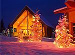 Log Cabin Decorated with Christmas Lights Marysville, British Columbia, Canada