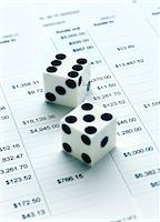 Dice and Financial Listings    Stock Photo - Premium Royalty-Freenull, Code: 600-00367742