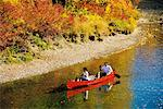 Couple Canoeing Down River Alberta, Canada    Stock Photo - Premium Rights-Managed, Artist: Roy Ooms, Code: 700-00424585