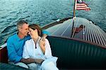 Couple Holding Each Other in Boat