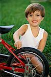 Child Repairing Bicycle    Stock Photo - Premium Rights-Managed, Artist: George Shelley, Code: 700-00425711