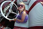 Portrait of Girl in Convertible    Stock Photo - Premium Rights-Managed, Artist: TSUYOI, Code: 700-00430381