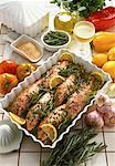 high angle view of fish steaks served in a platter on a table with white wine and vegetables Stock Photo - Premium Royalty-Free, Artist: Susan Findlay, Code: 618-00451486