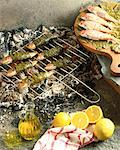 high angle view of leaf wrapped fish grilling on a coal fire beside lemons and olive oil Stock Photo - Premium Royalty-Free, Artist: Michael Mahovlich, Code: 618-00451499