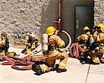 Firefighters Preparing to Enter Building    Stock Photo - Premium Rights-Managed, Artist: Steve Craft, Code: 700-00453245
