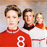 portrait of three young people standing in a row one behind the other Stock Photo - Premium Royalty-Free, Artist: dk & dennie cody, Code: 618-00468157