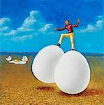 Man Walking on Eggshells    Stock Photo - Premium Rights-Managed, Artist: James Wardell, Code: 700-00477600