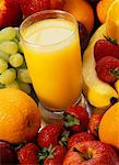 Glass of Orange Juice and Mixed Fruit    Stock Photo - Premium Rights-Managed, Artist: Roy Ooms, Code: 700-00477645
