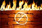 Flames Behind Firewall Painted With Sign    Stock Photo - Premium Rights-Managed, Artist: Boden/Ledingham, Code: 700-00478037